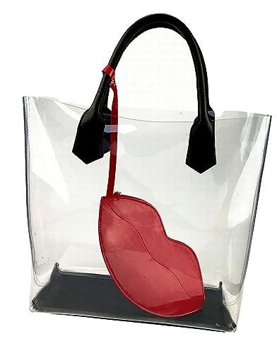 Amazon.com  Large Clear Bag PVC Transparent Beach Bag Plastic Waterproof  Purse Candy Tote Shoulder Handbag (Lip)  Shoes f51c64f5a2025