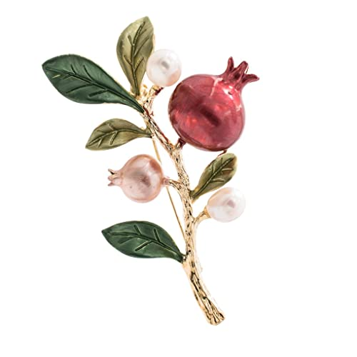 9742dc59dcb5a Amazon.com: SEPBRIDALS Pretty Pearl Leaves Pomegranate Fruit Brooch ...