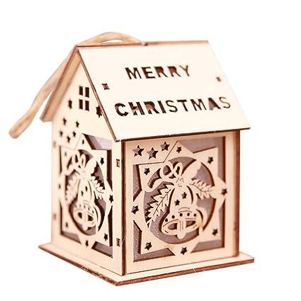 Led Light Cute Wood House Christmas Tree Hanging Ornaments Festival  Decoration
