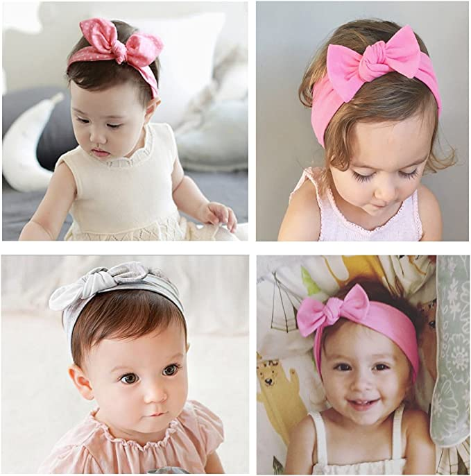 Ecroon Girls Headband,Kids Turban Knotted,Hairbands,Hair Accessories Cotton Headbands for Baby Girl,Newborn,Toddler and Children Gift 3Pcs//Set
