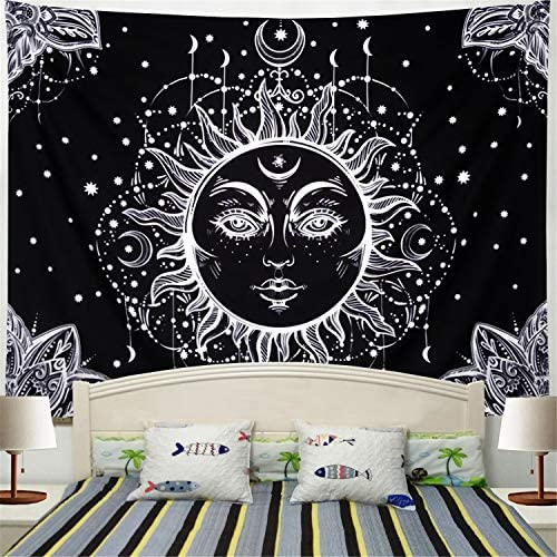 Racunbula Sun and Moon Tapestry Wall Hanging Psychedelic Wall Tapestry Black White Celestial Tapestry Indian Hippy Bohemian Mandala Tapestry for Bedroom Living Room Dorm X-Large, Black Face