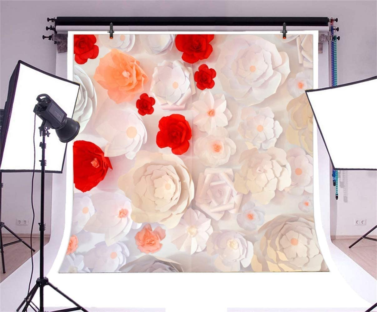 Polyester 6.5x6.5ft Paper Flower Photography Background White Red Orange Flowers for Bride Wedding Stage Props Birthday Party Decor Child Kids Baby Adult Portrait Shoot Wallpaper
