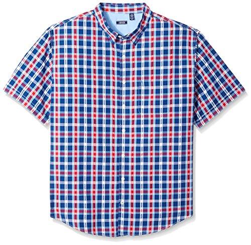 IZOD Men's Big Short Sleeve Plaid Seersucker Shirt, Estate Blue, 4X-Large (Button Down Rugby)