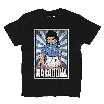 Camiseta de fútbol vintage de Maradona en el Nápoles, parodia de Oliver y Benji,