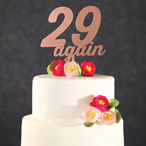 Amazon Birthday Cake Topper Rose Gold 29 Again Funny Wooden Twenty Nine