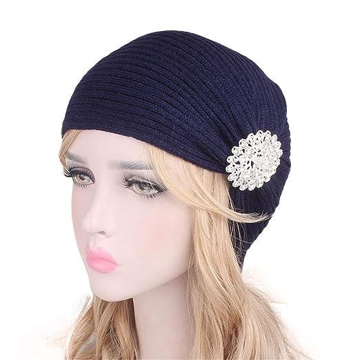 de8a89fbbb1 Amazon.com Qhome Autumn Winter Ladies Woolen Caps Alloy Drill Headband  Clothing exquisite style b43a5 ...
