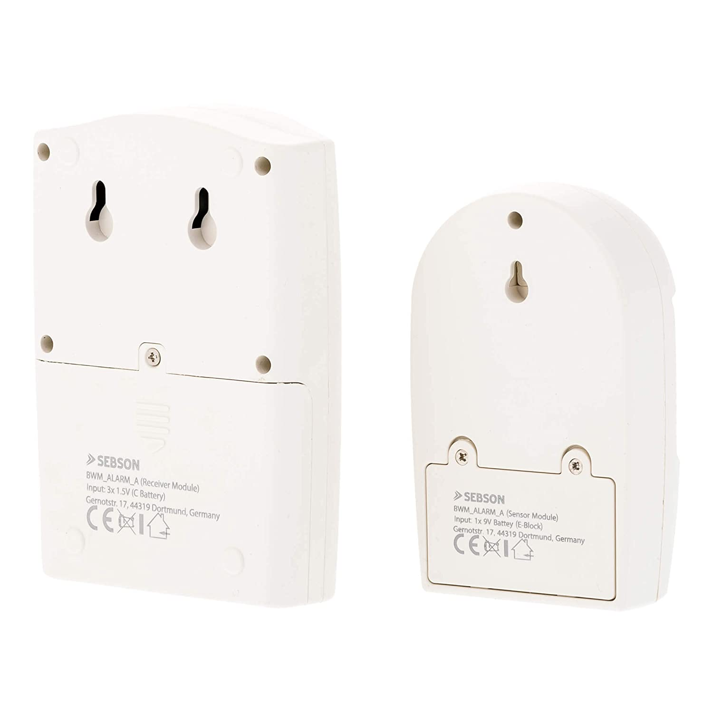 SEBSON Alarma Sensor Movimiento (105dB) o Detector de paso (81dB), Alimentado por Batería o con Fuente de Alimentación, Alarma de Seguridad: Amazon.es: ...