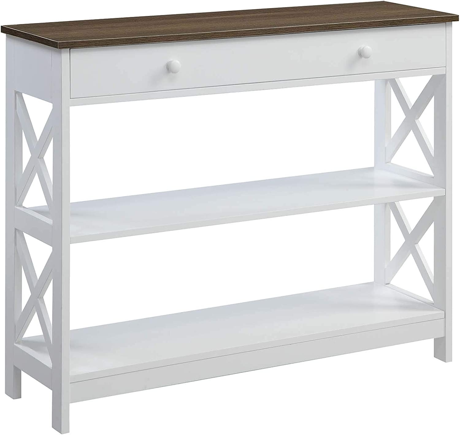 Convenience Concepts Oxford 1 Drawer Console Table, Driftwood / White