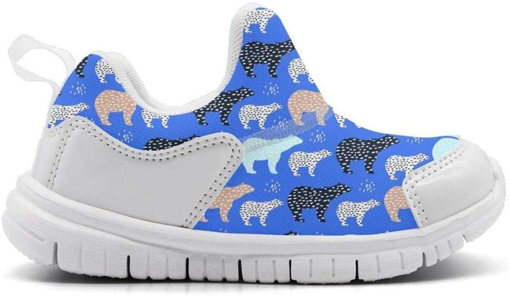 ONEYUAN Children Polar Bear Art Blue Kid Casual Lightweight Sport Shoes Sneakers Walking Athletic Shoes