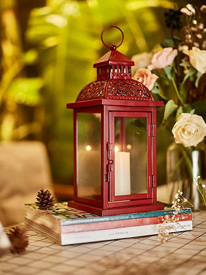 "black blue Moroccan 13/"" tall thin slender Candle holder Lantern outdoor wedding"