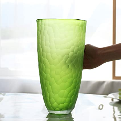 Amazon Se7ven Green Glass Vase Hand Blown Matte Cracked Flower