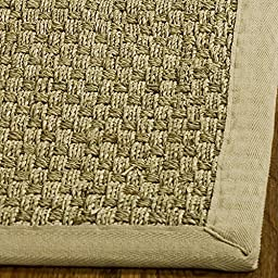 Safavieh Natural Fiber Collection NF114A Basketweave Natural and Beige Seagrass Area Rug (2\'6\