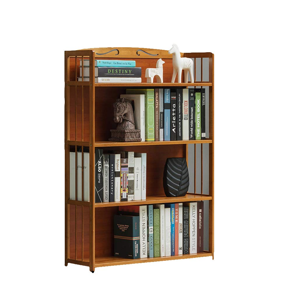 J 80X25X110cm Natural Bamboo 3-4 Tier Book Rack, Bookcases, Thickened Storage Rack Bookshelf Waterproof Living Room Bedroom Office in Home Kitchen-B 70X25X98cm
