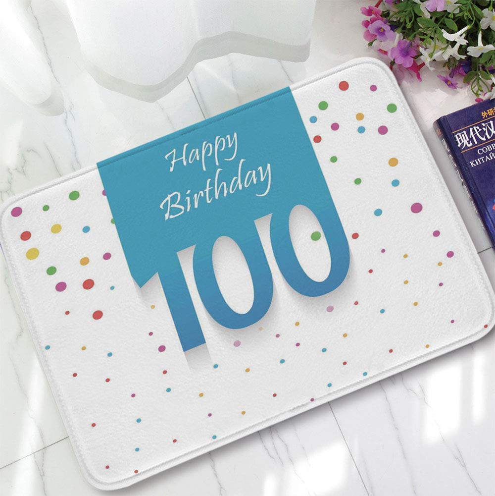 YOLIYANA Water Absorption Non-Slip Mat,100th Birthday Decorations,for Corridor Study Room Bathroom,15.75''x23.62'',Birthday Party Wish for 100 Years