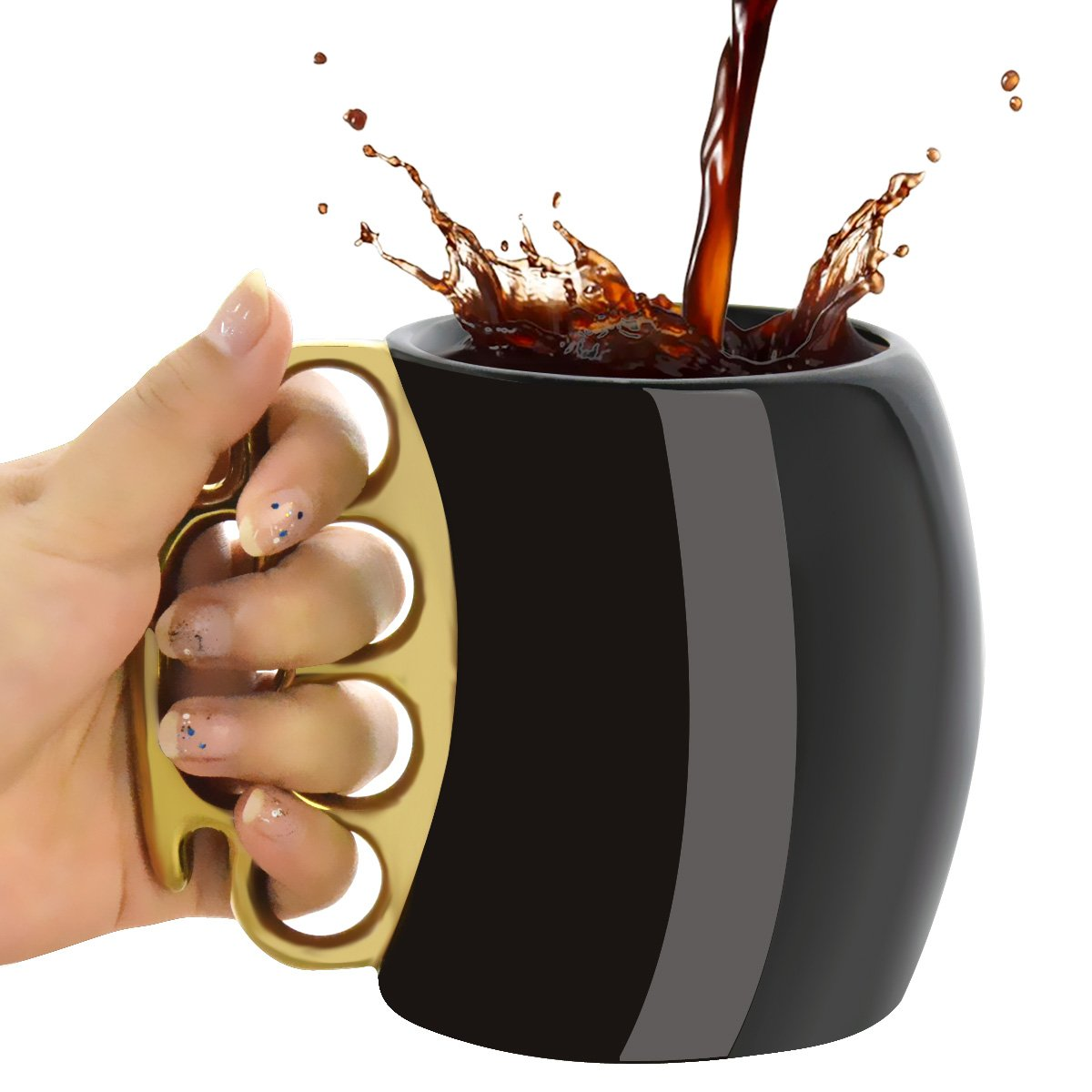 MOACC Fist Cup Brass Knuckle Duster Coffee Mug Creative Ceramic Coffee Milk Tea Fist Mug Cup Cool Gift Black with Golden Handle