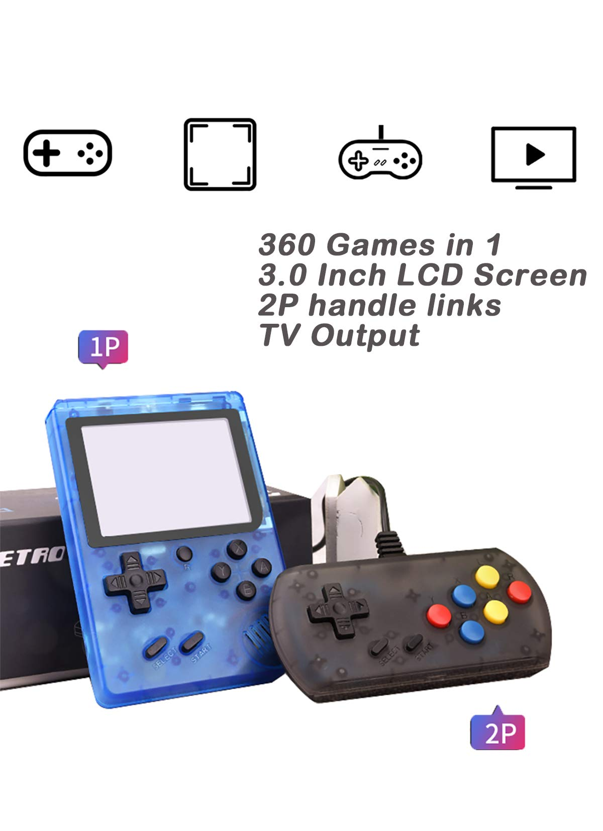 Efunlife Handheld Game Console, 360 Classic Games 3 Inch LCD Screen with 2 Player Controller Portable Retro Game Console Support AV Out TV, Good Gift for Boy Kids by Efunlife (Image #3)