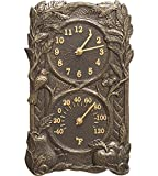 Bird Fruit Outdoor Clock and Thermometer French Bronze