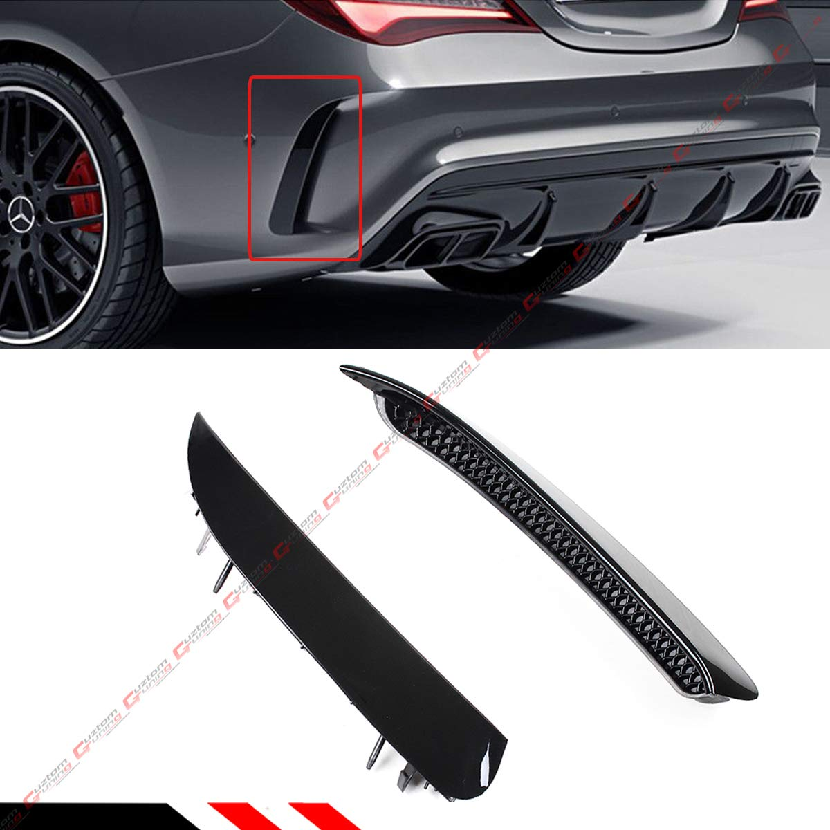 FOR 2014-2018 MERCEDES BENZ W117 CLA45 CLA250 AMG GLOSS BLACK REAR BUMPER SIDE VENT CANARD INSERT Cuztom_Tuning