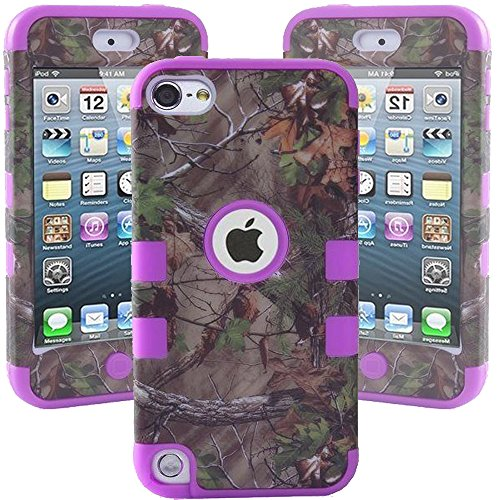 ipod Touch 5 Case, Kecko Defender Dual Layer Tree Camo Mossy High Impact Shockproof Tough Silicone Rugged Armor Hybrid Case for ipod Touch 5th - Leaves on the Core--for Boys & Girls (Bird Purple) (Purple Camo Cases For Ipod 5)