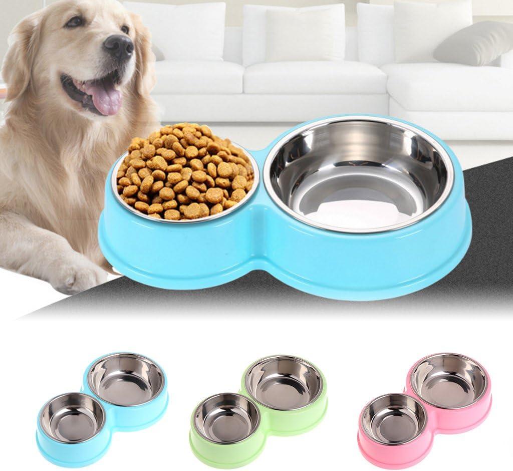 ATATMOUNT Comedero Doble para Mascotas con alimentador de Agua de Acero Inoxidable para Perros y Gatos