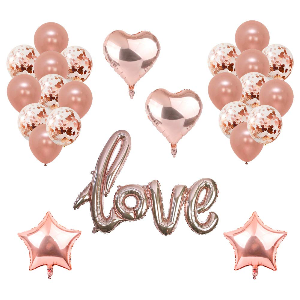 Toupons Rose Gold LOVE Balloons, Rose Gold Heart & Star Foil Latex Balloons For Valentines Day, Wedding, Birthday, Bridal Shower, Anniversary, Engagement Party Decoration Balloons (Love)