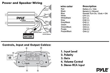 amazon com: pyle hydra marine amplifier - upgraded elite series 400 watt 4  channel micro amplifier - waterproof, gain level controls, rca stereo  input,