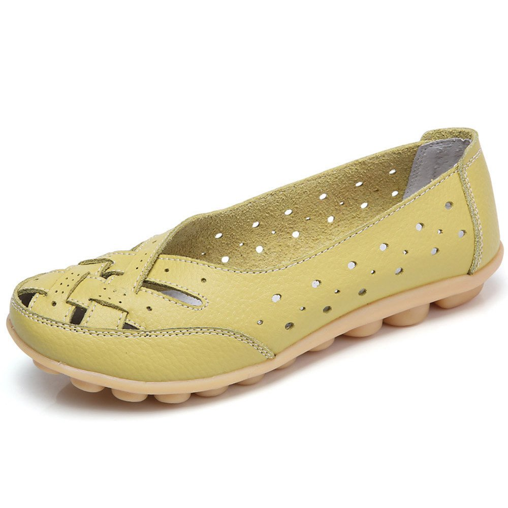 Women's Leather Loafers Shoes Comfortable Ladies Casual Moccasins Wild Breathable Summer Nurse Driving Flats Green by Hunzed women shoes