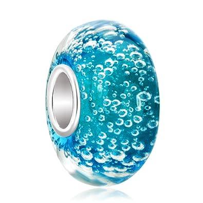 61a7e9f37 Blue Bubbles Murano Glass Charm 925 Sterling Silver Beads Fit  Pandora/Chamilia Charm Bracelet: Amazon.co.uk: Jewellery