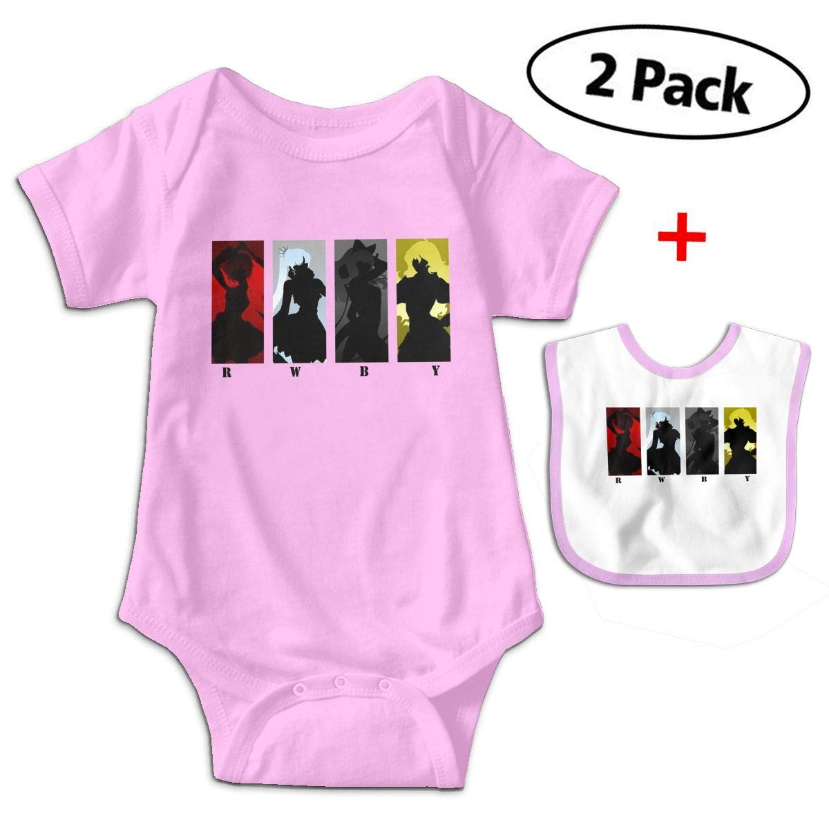 KAYERDELLE Rwbyposter Babys Kids Short Sleeve Jumpsuit Outfits for 3-24 Months and Baby Bib