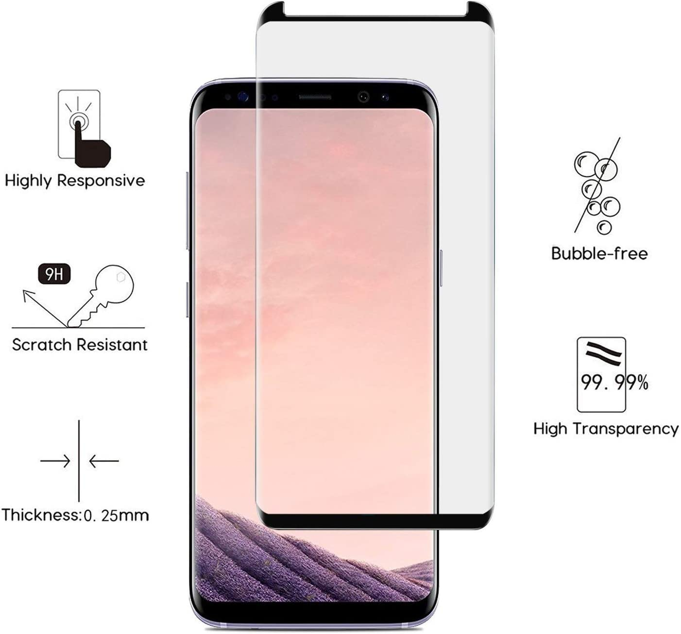 2 Pack QUESPLE Premium Tempered Glass Screen Protector Galaxy S8 Plus Screen Protector 9H Hardness Screen Protector Compatible with Samsung Galaxy S8 Plus Anti-Scratch Case Friendly NO Bubble