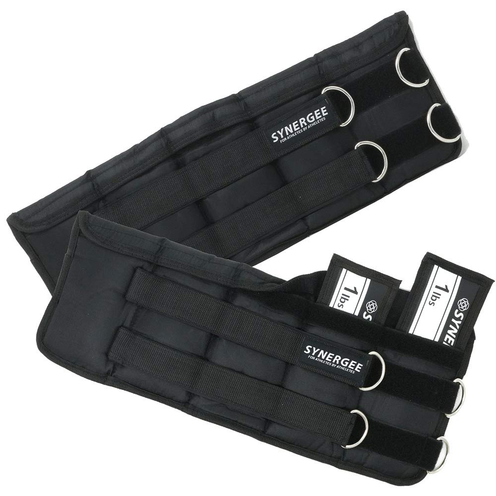 Synergee Comfort Fit 1-10lb Adjustable Ankle/Wrist Weights (Set of 2). One Size Fits All.