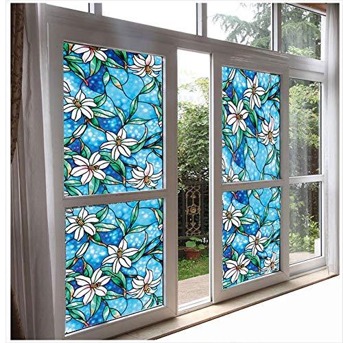 XXRBB Static Cling Window Film Stained Glass,Opaque Light Transmission Anti-UV,Reusable Flower Glass Sticker,1,90x200cm(35x79inch)