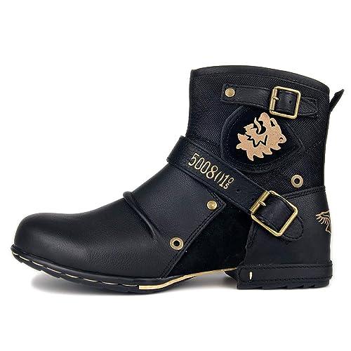 Botas para Moto Botines Hombre Invierno Zapatos Nieve Piel Forradas Calientes Planas Combate Militares Martin Boots OZ 5008 1 N
