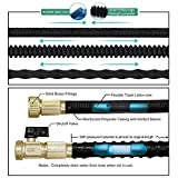 TheFitLife Best Expandable Garden Hose - 25/50/75/100 Feet Strongest Triple Core Latex and Solid Brass Fittings Free Spray Nozzle 3/4 USA Standard Easy Storage Kink Free Flexible Water Hose (25 Feet)