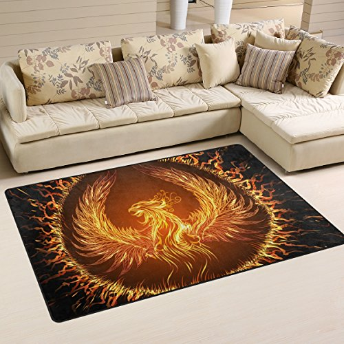 HUNANA Fire Phoenix Soft Indoor Outdoor Area Rug Rugs Home Decor for Living Room Bedroom Kitchen (Phoenix Furniture Outdoor Discount)