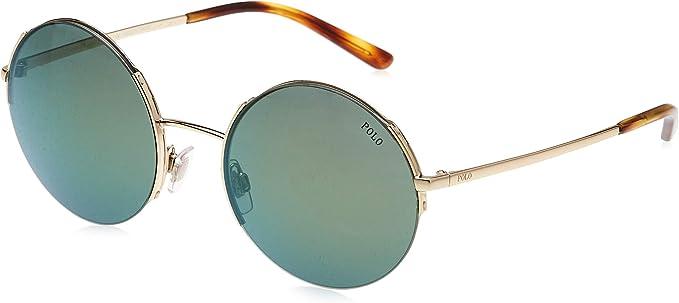 Polo 0PH3120 Gafas de sol, Redondas, 45, Shiny Pale Gold: Amazon ...