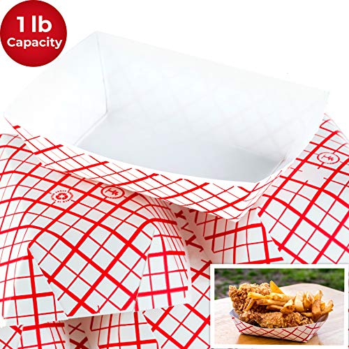 Heavy Duty, Grease Resistant 1 Lb Paper Food Trays 100 Pack. Recyclable, Coated Paperboard Basket Ideal for Festival, Carnival and Concession Stand Treats Like Fries, Ice Cream and Chicken Tenders ()