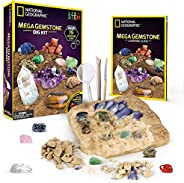 NATIONAL GEOGRAPHIC Mega Gemstone Dig Kit – Excavate 15 Real Gems Including Amethyst, Tiger's Eye & Rose Q