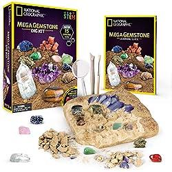 NATIONAL GEOGRAPHIC Mega Gemstone Dig Kit-Excavate 15 real Gems including Amethyst, Tiger's Eye and Quartz