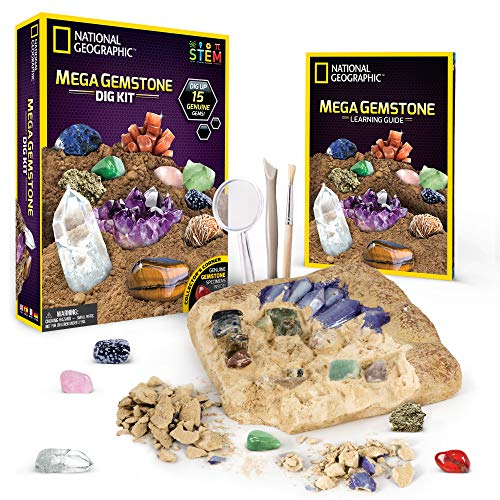 NATIONAL GEOGRAPHIC Mega Gemstone Dig Kit-Excavate 15 real Gems including Amethyst, Tiger's Eye and Quartz -