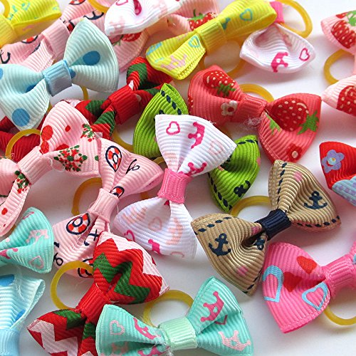 Random 20pcs Mix Lots Pet Dog Hair Bows With Rubber Band Pearl Rhinestone Pet Dog Grooming Flower