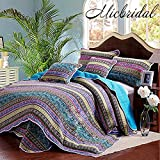 MicBridal King Size Quilt Sets with Bohemian Blue Stripe Modern Bedding Sets by, Reversible 100% Cotton Patchwork Bedspread Soft and Washable Bed Coverlet Sets Bedding Collection Sets