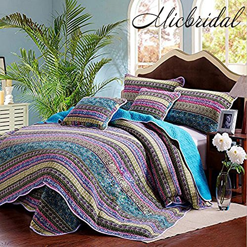 Darker Purple with Lighter Blue: Size Quilt Cover Sets Classic Bohemian Blue Stripe Bed Cover Set Queen 100% Cotton Patchwork Bedspread Soft and Warm Bed Coverlet Quilted Throw