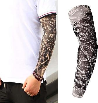 JIUHUIDIAN Brazo Mangas Protección UV Mangas 3D Tatuaje Impreso ...