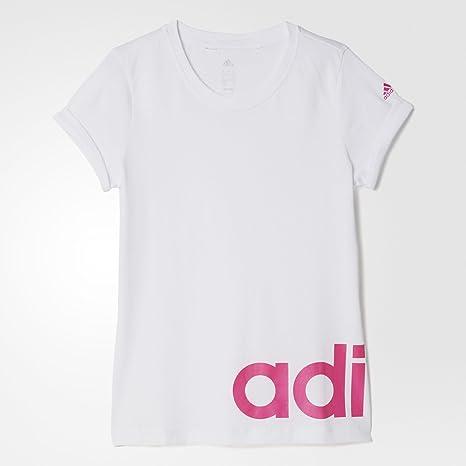Adidas YG W Linear tee - Camiseta para niñas, Color Blanco/Rosa, Talla