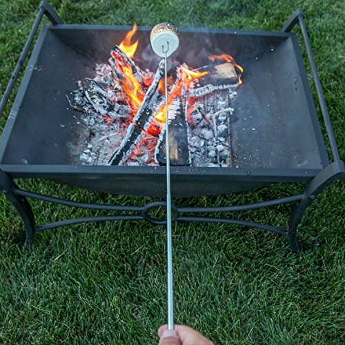 MalloMe-Marshmallow-Roasting-Sticks-Extending-Roaster-Set-of-8-Telescoping-Smores-Skewers-Hot-Dog-Forks-32-Inch-Fire-Pit-Camping-Cookware-Campfire-Cooking-Kids-FREE-Bag-10-Sticks-Ebook
