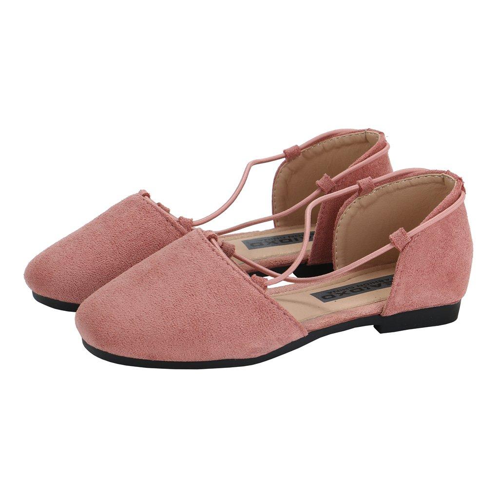 lakiolins Toddler Girls Cross Straps Pointed Toe D'Orsay Ballet Flats Slip on Sandals Pink Size 9.5M