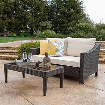 Bon Aspen Outdoor Wicker Loveseat U0026 Table W/Water Resistant Fabric Cushions  (Brown/Beige