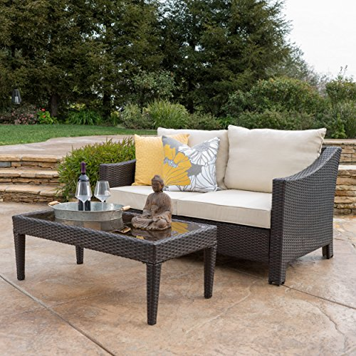 Aspen Outdoor Wicker Loveseat & Table w/Water Resistant Fabric Cushions (Brown/Beige) For Sale