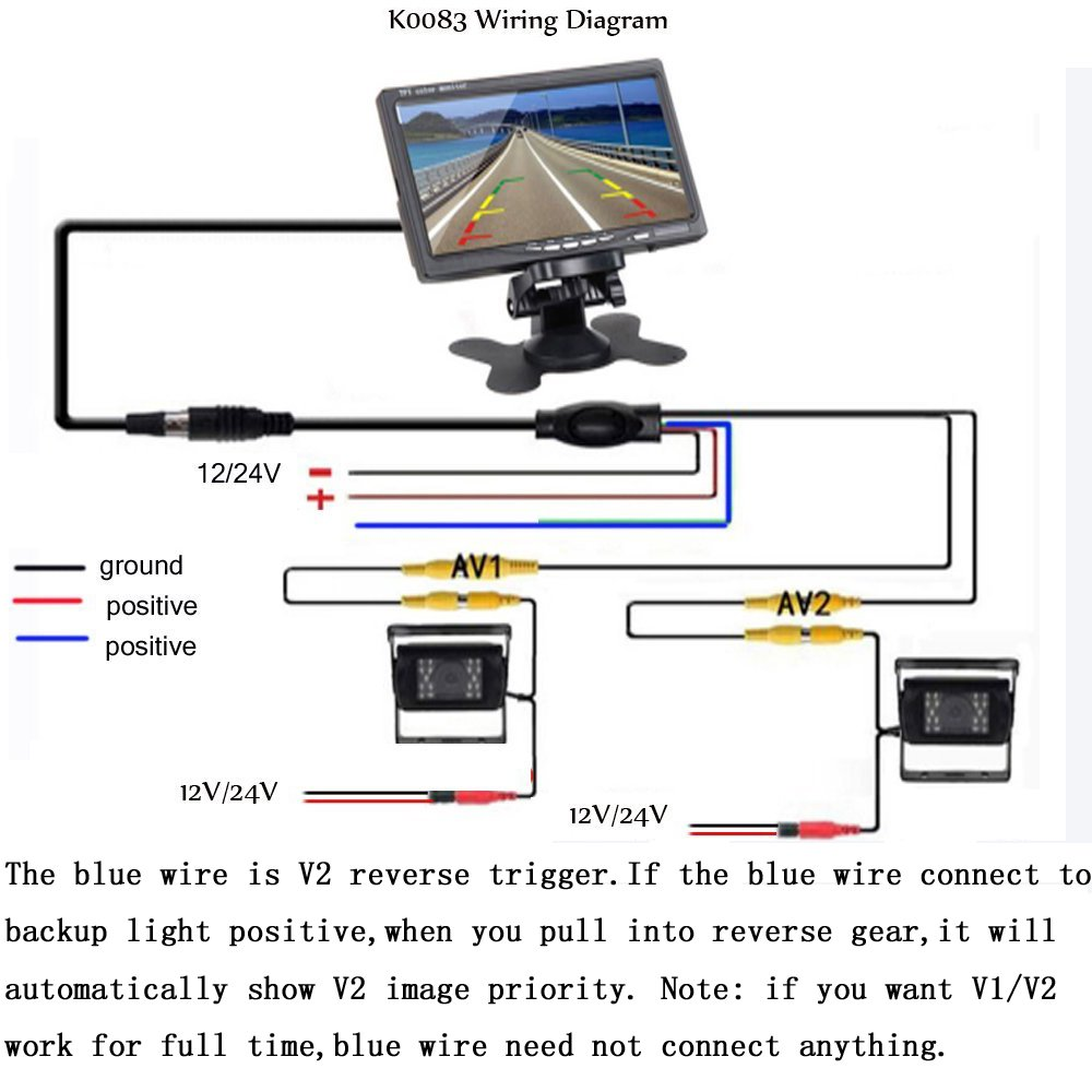 Camecho Dc 12v 24v Vehicle Backup Camera System 2 X Rear View Av Cable Wiring Diagram Support Night Vision Waterpoof 7 Monitor With Dual 34ft Cables Hardwire For Bus